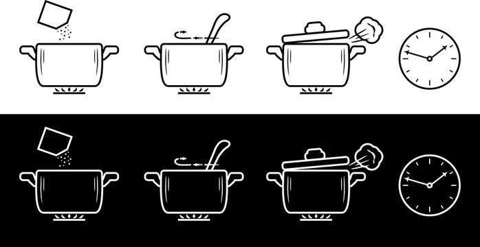 Cooking method in four steps. Black and white drawing