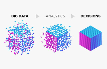 Big data analytics algorithm concept illustration