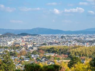 Arashiyama cityscape view in autumn, Japan