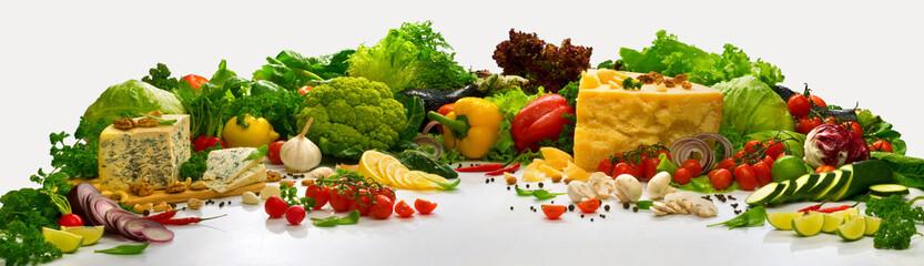 Композиция с овощами на белом фоне Composition with vegetables on a...
