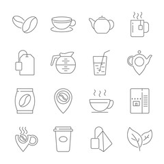 Set of Coffee and Tea Vector Line Icons. Contains such Icons as Cup of Tea, Teabags, Coffee beans and Green Tea Leaves, a pitcher of Water, Sugar Cubes and more. Editable Stroke. EPS 10