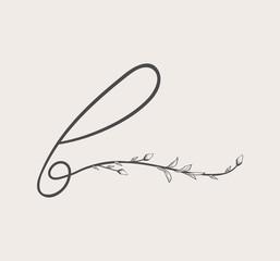 Vector Hand Drawn floral b monogram and logo