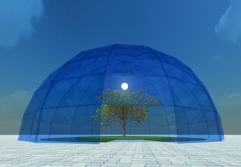 Glass dome glasshouse 3D illustration. Reflective blue glass structure, tree, sky background. Collection. Wall mural