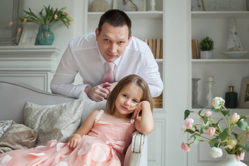 Father and daughter together, portrait