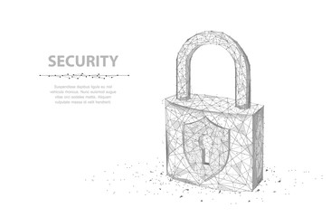 Lock. Abstract 3d wireframe lock isolated on white. Wall mural