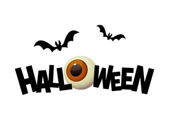 Halloween black text banner with cartoon eye
