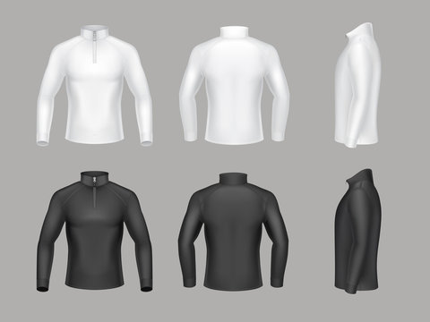 Vector set of base layer shirts for men with long sleeves and short zipper. Male thermal underwear, warm fleece sweatshirts to wear on top of body, isolated on background. Mockup for clothes design