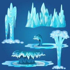 In de dag Groene koraal Set of frozen streams and splashes of water isolated on blue background. Vector illustration.