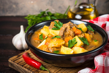 Goulash with meat and vegetables. Beef stew.