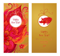 Card for New Year's greeting in Сhinese style.