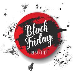 Black Friday Sale banner with brush stroke and handwritting trendy lettering. Best offer. Vector illustration.