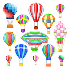 Air balloon vector cartoon air-balloon or aerostat with basket flying in sky and ballooning adventure flight illustration set of ballooned traveling flying toy isolated on white background