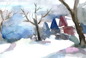 The houses stands among the trees, it's snowing. Watercolor illustration.