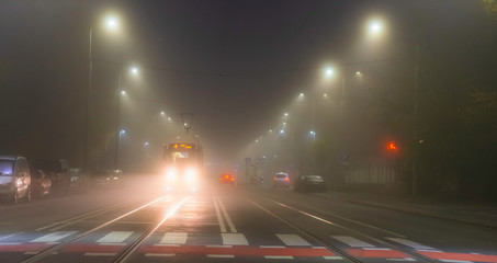 Foggy evening in the city