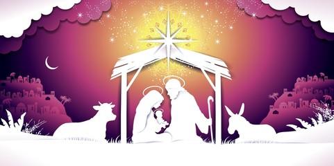 Christmas Banner Nativity sunset Scene