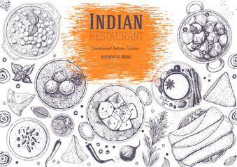 Indian cuisine top view frame. Indian food menu design. Vintage hand drawn sketch vector illustration.