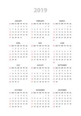 Simple calendar 2019 year. Week starts from Sunday. Flat vector illustration EPS10