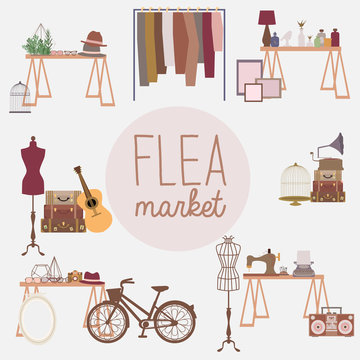 Flea market set with vintage clothes and accessories shop, cartoon flat design. Editable vector illustration