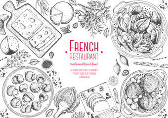 French cuisine top view frame. A set of classic French dishes with beef bourguignon, mussels, escargot, foie gras, cheese, artichoke . Food menu design template. Hand drawn sketch vector illustration.