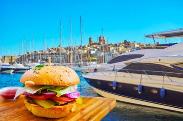 Tasty burger at Vittoriosa marina, Malta