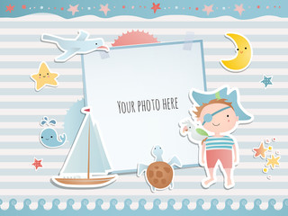 Holiday card design with  pirate, ship and stars.  Baby shower. Paper, scrapbook.