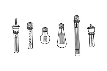 Collection of hand drawn decorative lamps