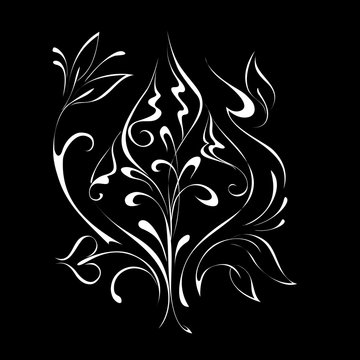 abstract flower with leaves in white lines on black background