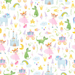 A seamless pattern with princess,  crown, unicorn, dragon, coach, brougham, castle.