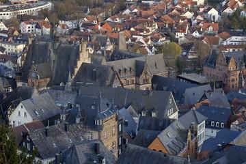 Marburg Stadtansicht vom Schloß aus