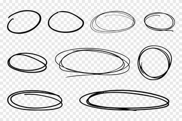 Vector collection of hand drawn line circles.