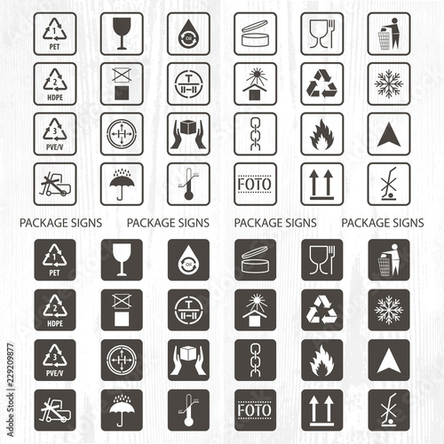 Vector packaging symbols  Shipping icon set including