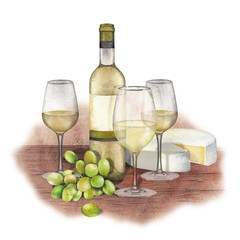 Three watercolor glasses of white wine, bottle, white grapes and cheese.
