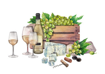 Watercolor wine glasses and bottles, box of grapes, cheese, cork and corkscrew