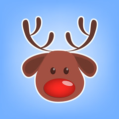 Cute christmas brown reindeer head with red nose