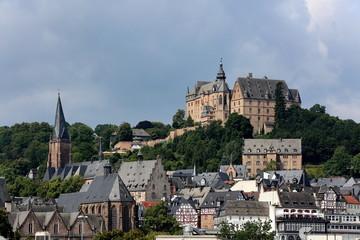 Marburg Stadtansicht mit Schloß, Elisabethkirche und Oberstadt