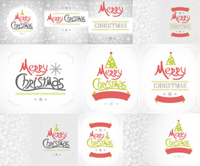 Retro New Year and Christmas set of backgrounds.