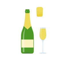 Bottle of champagne. Vector