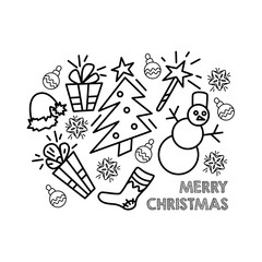 Christmas card. Greeting card Marry Christmas. Elements for New Year design. Silhouette