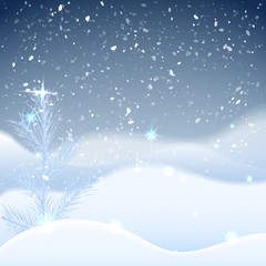 Winter background with frosty spruce (pine) snowbank with snowfall night sky. Greeting card for happy new year and christmas. Vector eps10, Xmas card.