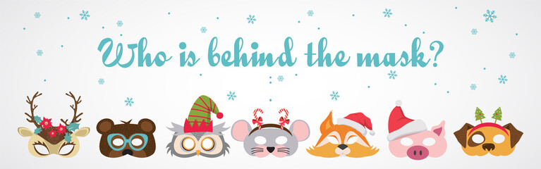Collection of winter animal masks and Christmas photo booth props for kids. Cute cartoon masks and elements for a party. Christmas party banner template. vector illustration
