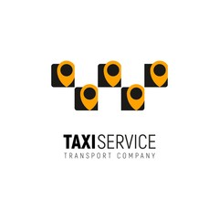 Taxi service isolated vector logo mobile app concept. Cab logotype with multiple yellow geotags on white background