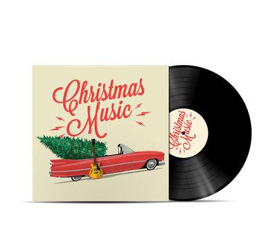 Christmas music playlist cover art. Vinyl disc cover. Realistic vector illustration