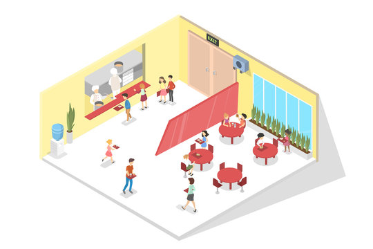 Children have lunch in the school cantine