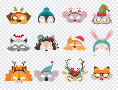 Collection of winter animal masks and Christmas photo booth props for kids. Cute cartoon masks and elements for a party. vector illustration