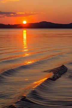 Colorful sunset at Finnish lake