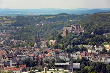 Marburg Stadtansicht mit Schloß und Elisabethkirche