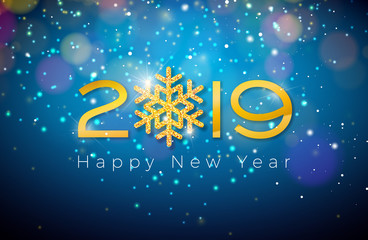2019 Happy New Year illustration with shiny gold number and snowflake on blue background. Holiday design for flyer, greeting card, banner, celebration poster, party invitation or calendar.