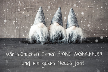 Gnomes, Snowflakes, Gutes Neues Jahr Means Happy New Year