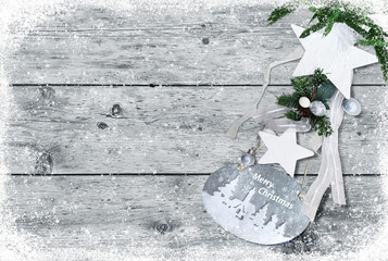 Christmas decoration star,ball white wood background for greeting card