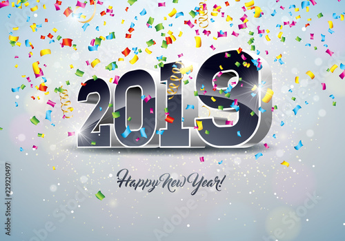 2019 happy new year illustration with 3d number and falling confetti on white background holiday